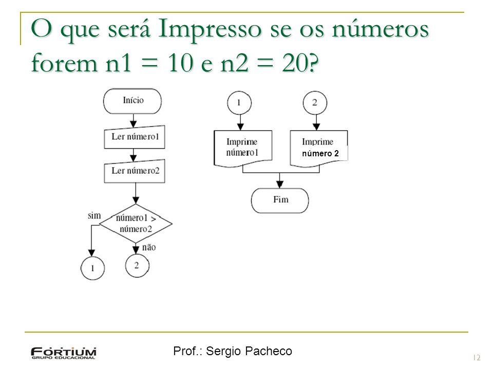 Prof.: Sergio Pacheco O que será Impresso se os números forem n1 = 10 e n2 = 20? 12 número 2