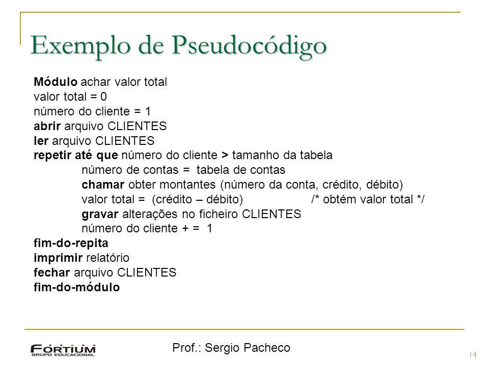 Prof.: Sergio Pacheco Exemplo de Pseudocódigo 14 Módulo achar valor total valor total = 0 número do cliente = 1 abrir arquivo CLIENTES ler arquivo CLI