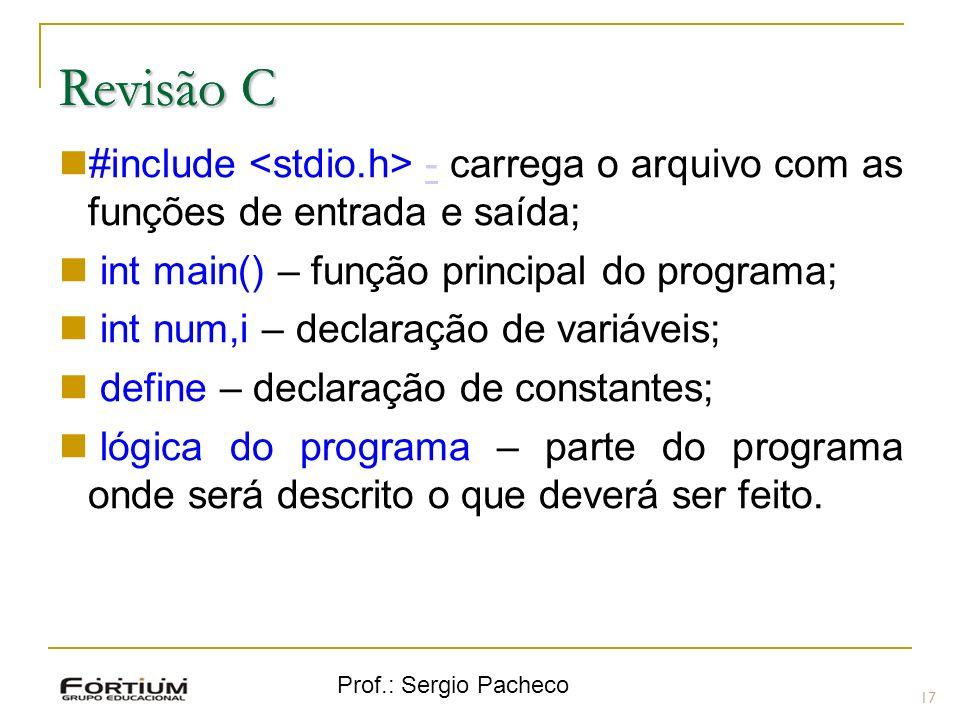 Prof.: Sergio Pacheco Revisão C 17 Revisão C #include - carrega o arquivo com as funções de entrada e saída;- int main() – função principal do program