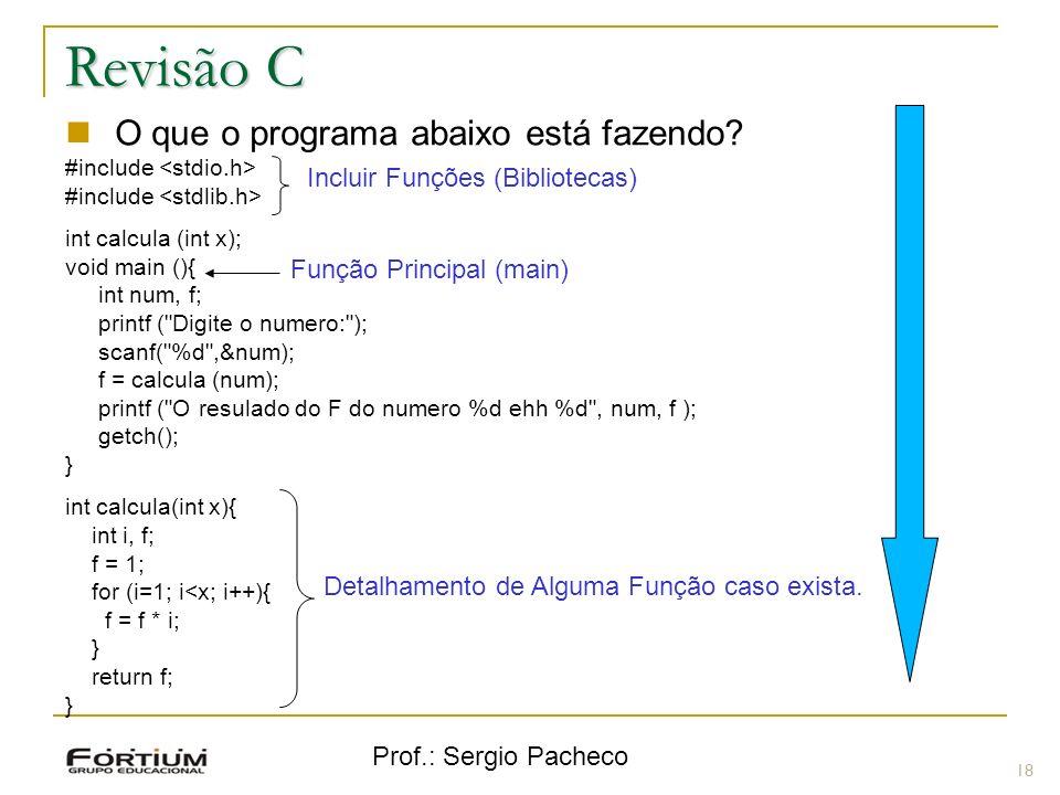 Prof.: Sergio Pacheco Revisão C 18 O que o programa abaixo está fazendo? #include int calcula (int x); void main (){ int num, f; printf (
