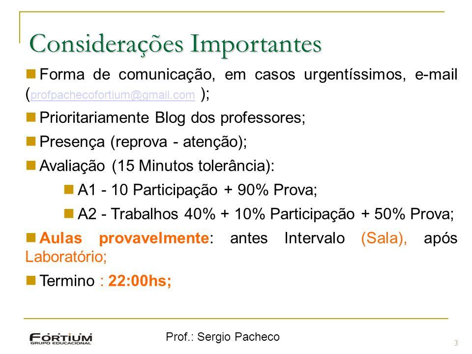 Prof.: Sergio Pacheco 3 Forma de comunicação, em casos urgentíssimos, e-mail ( profpachecofortium@gmail.com ); profpachecofortium@gmail.com Prioritari