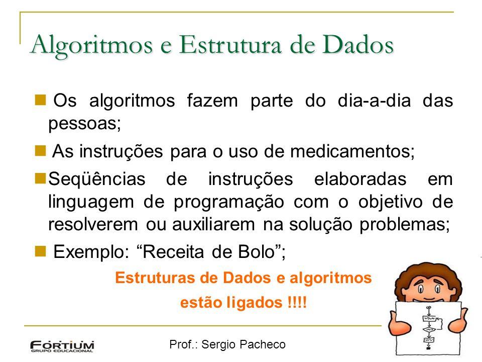 Prof.: Sergio Pacheco Algoritmos e Estrutura de Dados 8 Os algoritmos fazem parte do dia-a-dia das pessoas; As instruções para o uso de medicamentos;