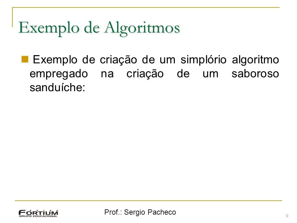Prof.: Sergio Pacheco Exemplo de Algoritmos 9 Exemplo de criação de um simplório algoritmo empregado na criação de um saboroso sanduíche: