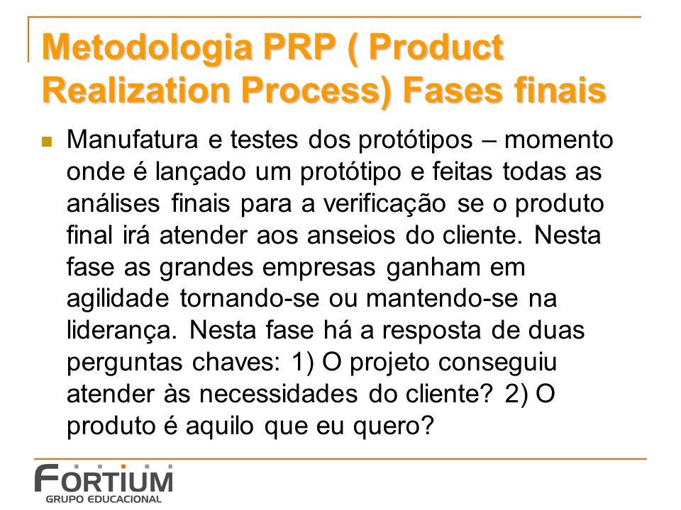 Metodologia PRP ( Product Realization Process) Fases finais Manufatura e testes dos protótipos – momento onde é lançado um protótipo e feitas todas as