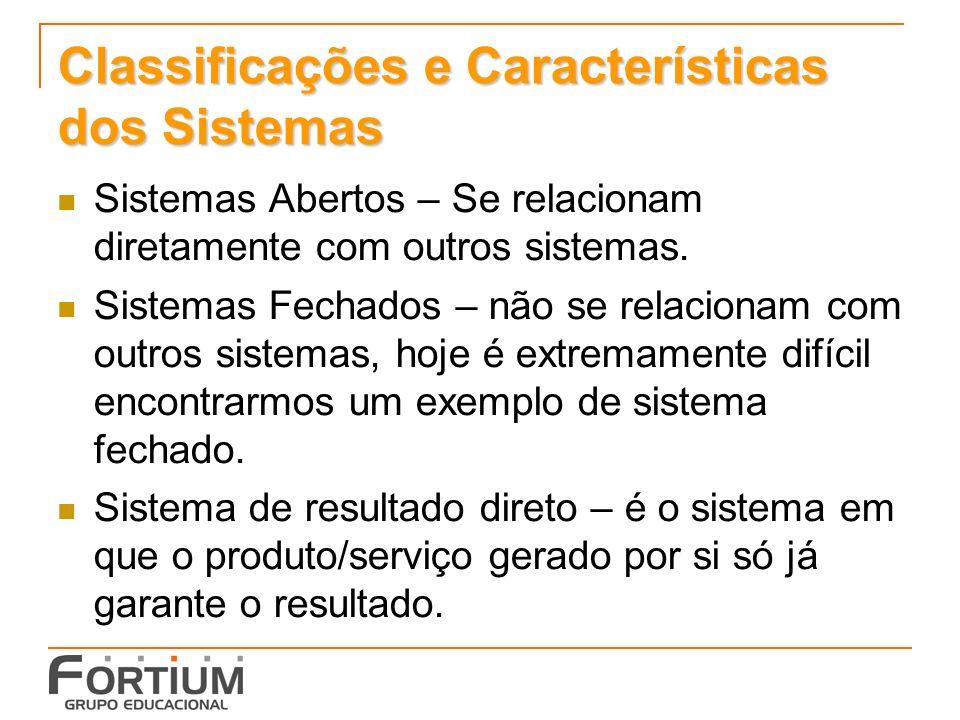 Classificações e Características dos Sistemas Sistemas Abertos – Se relacionam diretamente com outros sistemas. Sistemas Fechados – não se relacionam