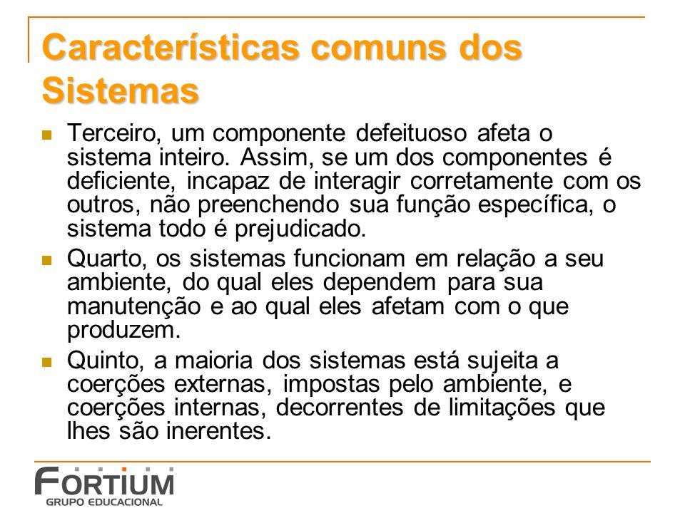 Características comuns dos Sistemas Terceiro, um componente defeituoso afeta o sistema inteiro. Assim, se um dos componentes é deficiente, incapaz de