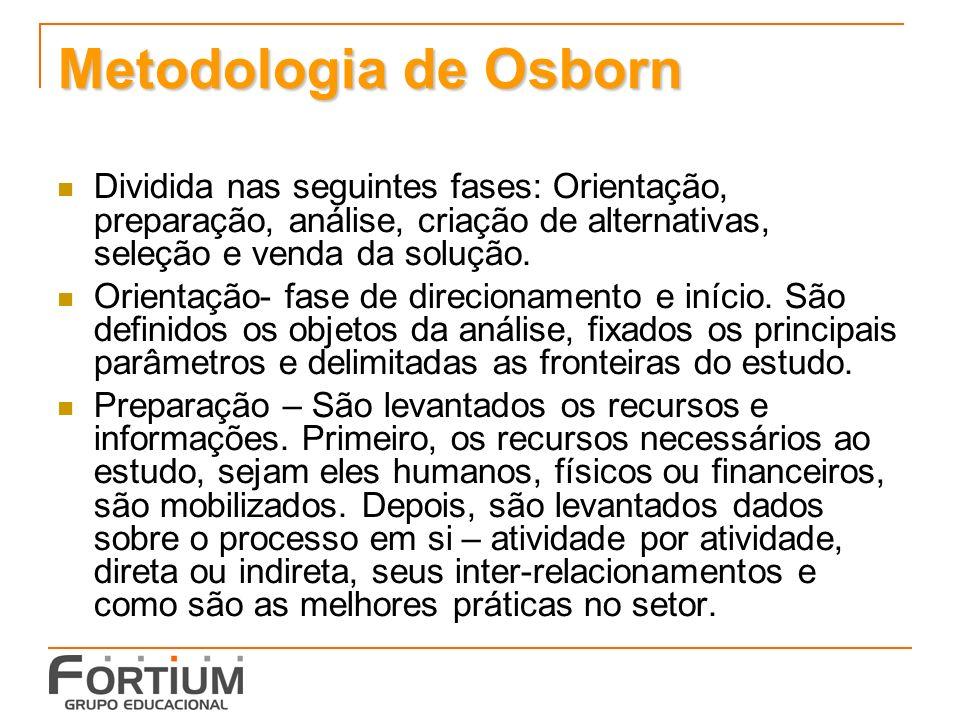 Metodologia de Osborn Dividida nas seguintes fases: Orientação, preparação, análise, criação de alternativas, seleção e venda da solução. Orientação-