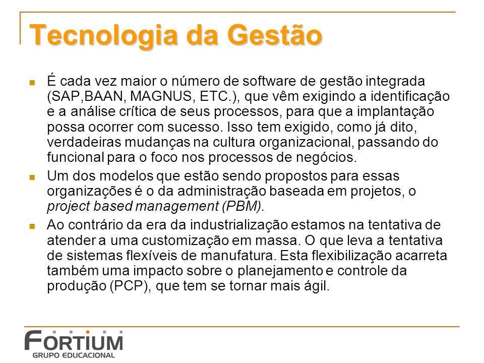 Tecnologia da Gestão É cada vez maior o número de software de gestão integrada (SAP,BAAN, MAGNUS, ETC.), que vêm exigindo a identificação e a análise