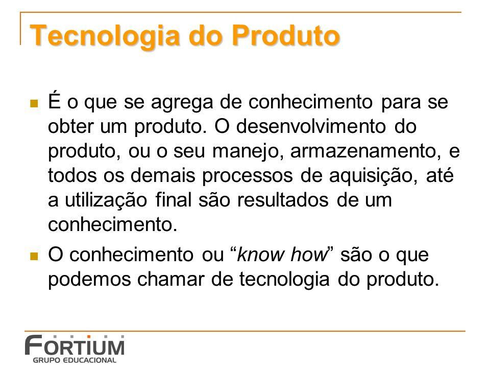 Tecnologia do Produto É o que se agrega de conhecimento para se obter um produto. O desenvolvimento do produto, ou o seu manejo, armazenamento, e todo