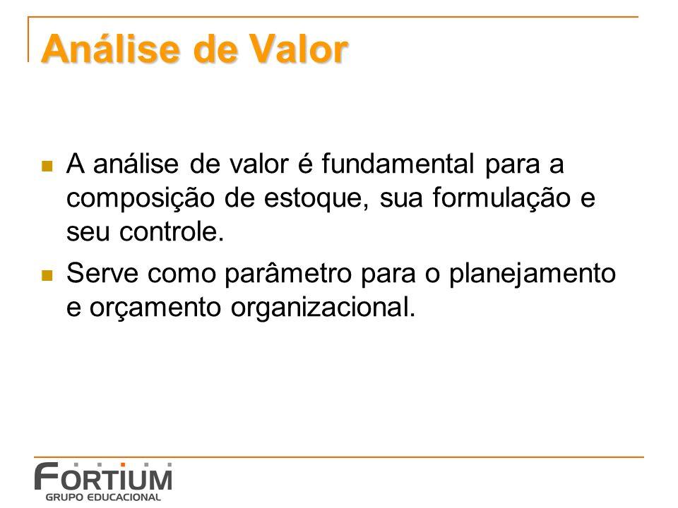 Análise de Valor A análise de valor é fundamental para a composição de estoque, sua formulação e seu controle. Serve como parâmetro para o planejament