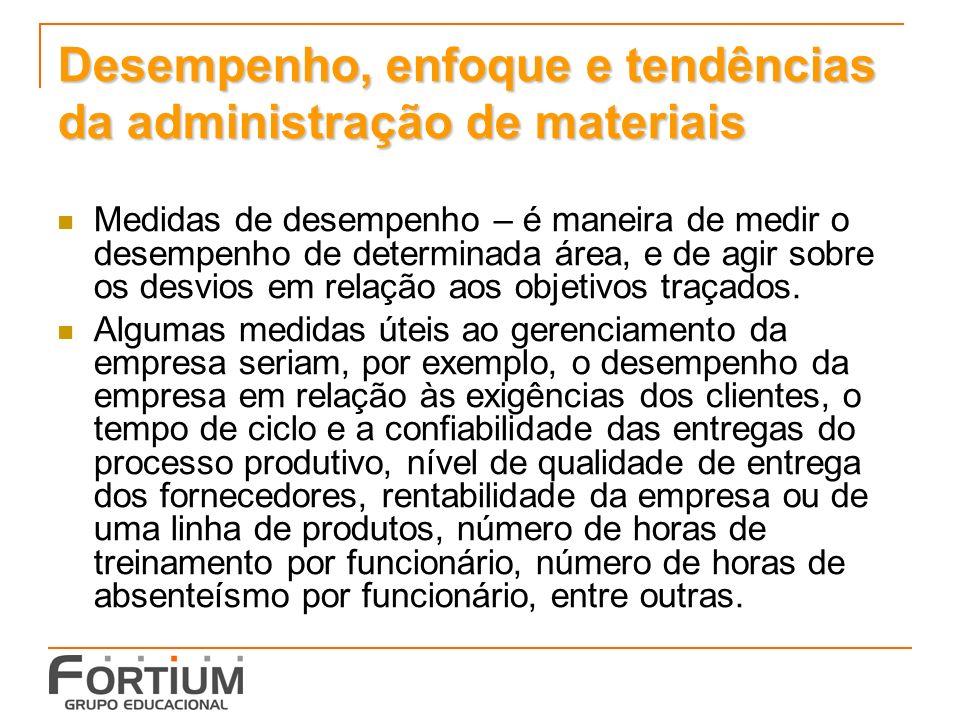 Desempenho, enfoque e tendências da administração de materiais Medidas de desempenho – é maneira de medir o desempenho de determinada área, e de agir