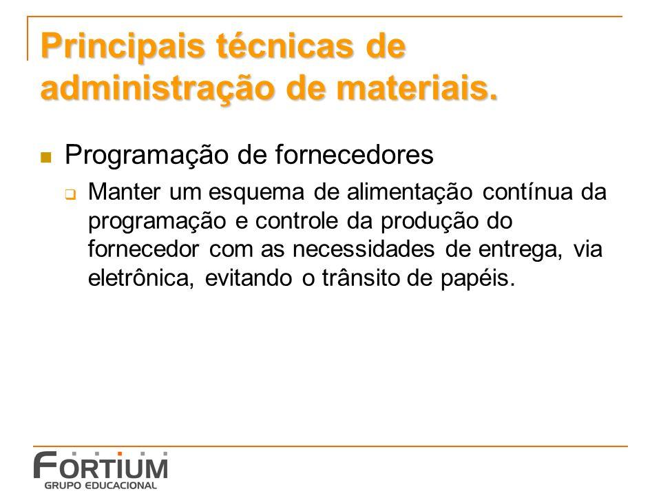 Principais técnicas de administração de materiais. Programação de fornecedores Manter um esquema de alimentação contínua da programação e controle da