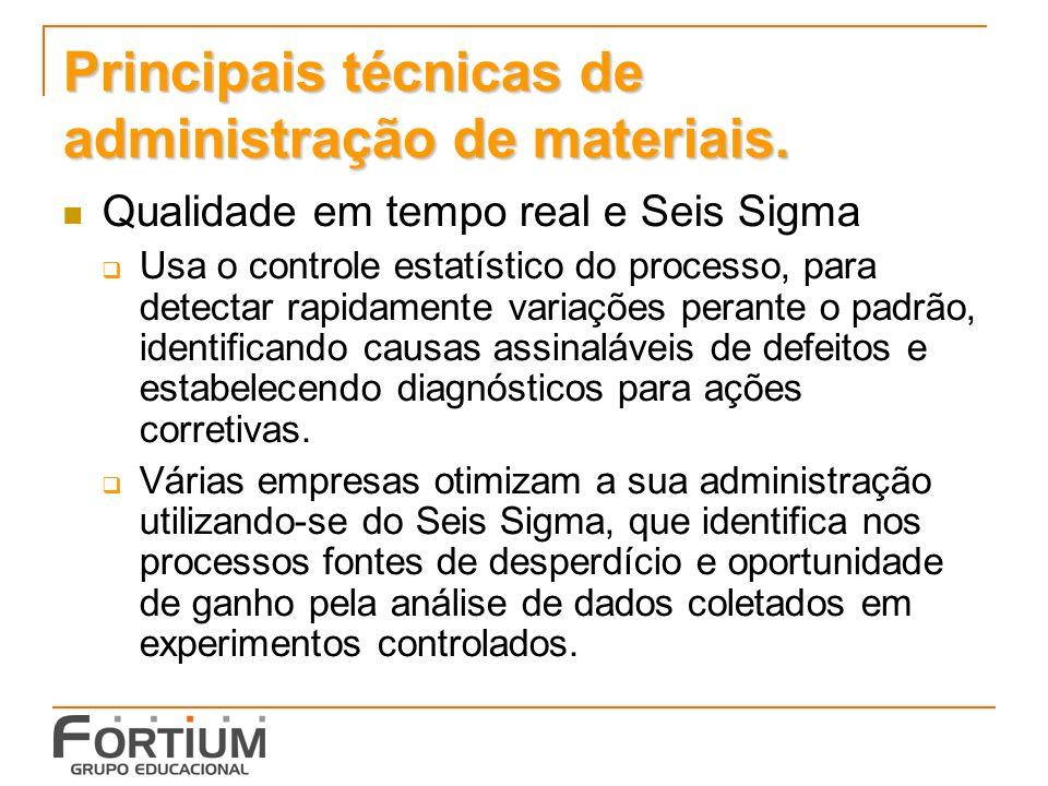Principais técnicas de administração de materiais. Qualidade em tempo real e Seis Sigma Usa o controle estatístico do processo, para detectar rapidame