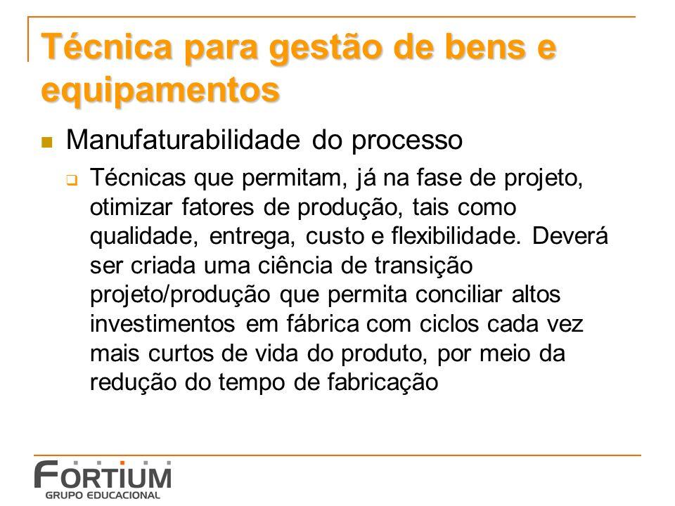 Técnica para gestão de bens e equipamentos Manufaturabilidade do processo Técnicas que permitam, já na fase de projeto, otimizar fatores de produção,