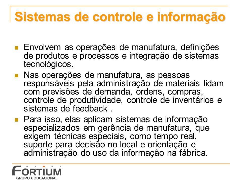 Sistemas de controle e informação Envolvem as operações de manufatura, definições de produtos e processos e integração de sistemas tecnológicos. Nas o