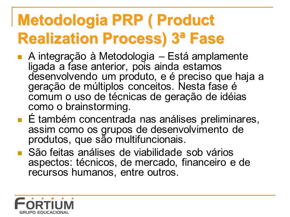 Metodologia PRP ( Product Realization Process) 3ª Fase A integração à Metodologia – Está amplamente ligada a fase anterior, pois ainda estamos desenvo