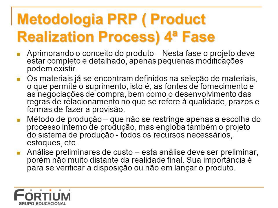 Metodologia PRP ( Product Realization Process) 4ª Fase Aprimorando o conceito do produto – Nesta fase o projeto deve estar completo e detalhado, apena