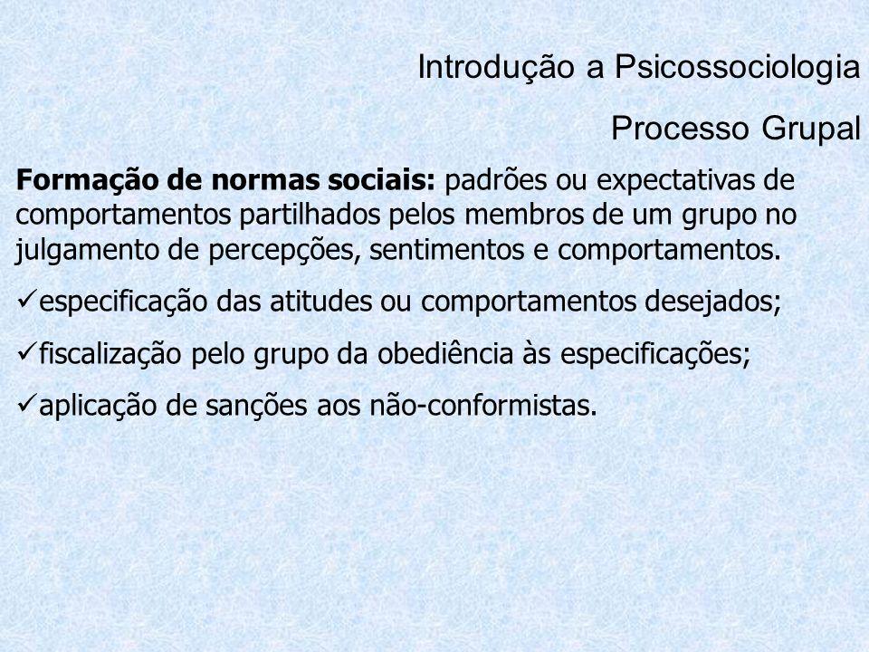 Introdução a Psicossociologia Processo Grupal Formação de normas sociais: padrões ou expectativas de comportamentos partilhados pelos membros de um gr