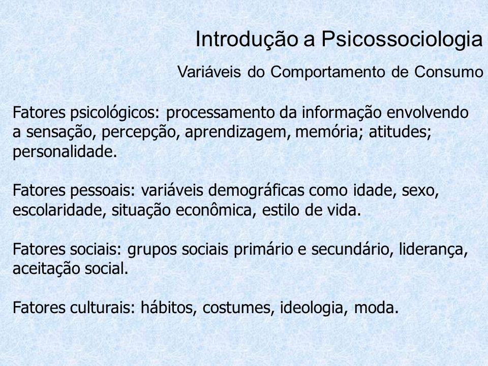 Introdução a Psicossociologia Variáveis do Comportamento de Consumo Fatores psicológicos: processamento da informação envolvendo a sensação, percepção