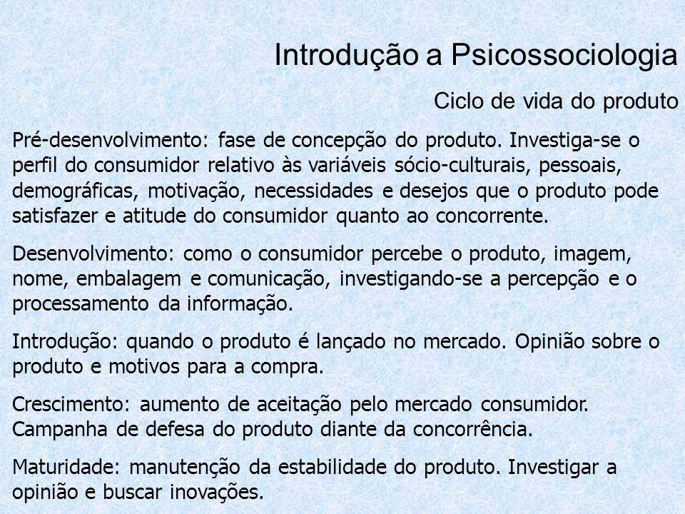 Introdução a Psicossociologia Ciclo de vida do produto Pré-desenvolvimento: fase de concepção do produto. Investiga-se o perfil do consumidor relativo