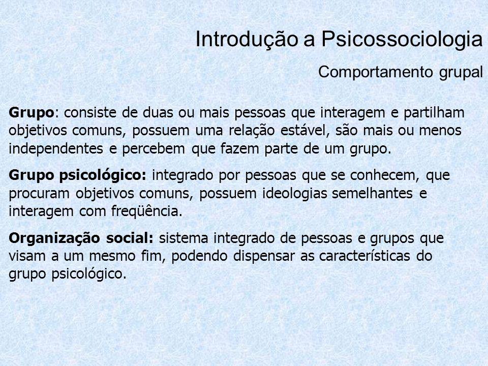 Introdução a Psicossociologia Tomada de Decisão Processo perceptivo: atenção, organização e recordação.