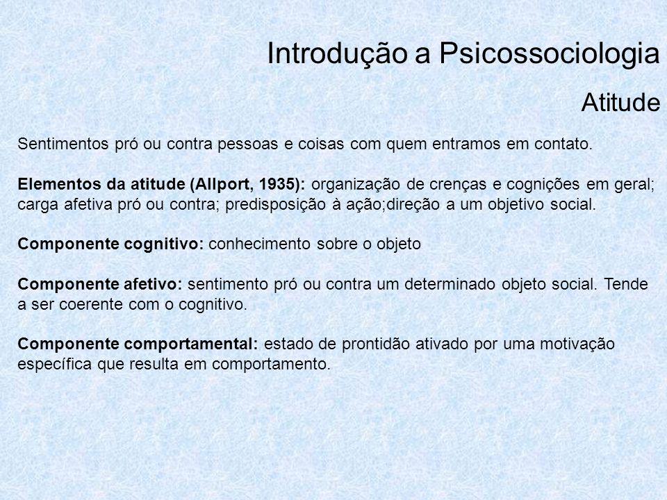 Introdução a Psicossociologia Atitude Sentimentos pró ou contra pessoas e coisas com quem entramos em contato. Elementos da atitude (Allport, 1935): o
