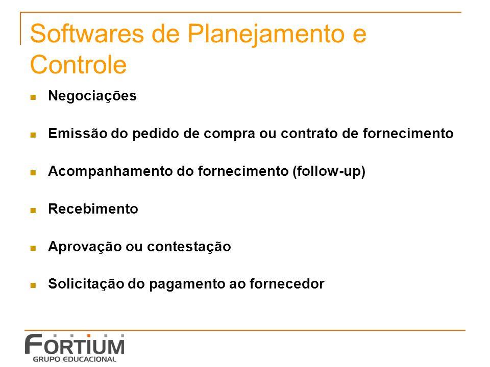 Softwares de Planejamento e Controle Negociações Emissão do pedido de compra ou contrato de fornecimento Acompanhamento do fornecimento (follow-up) Re