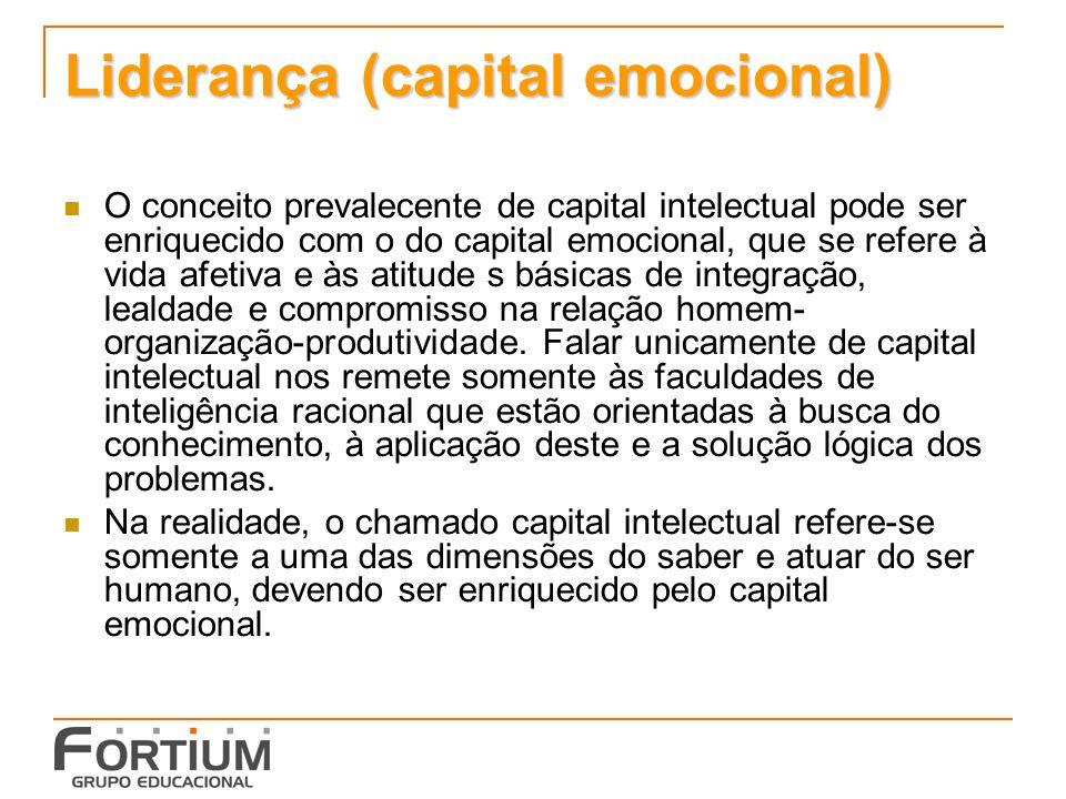 Liderança (capital emocional) O conceito prevalecente de capital intelectual pode ser enriquecido com o do capital emocional, que se refere à vida afetiva e às atitude s básicas de integração, lealdade e compromisso na relação homem- organização-produtividade.