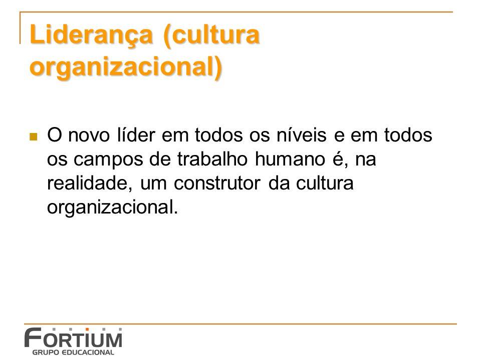 Liderança (cultura organizacional) O novo líder em todos os níveis e em todos os campos de trabalho humano é, na realidade, um construtor da cultura organizacional.