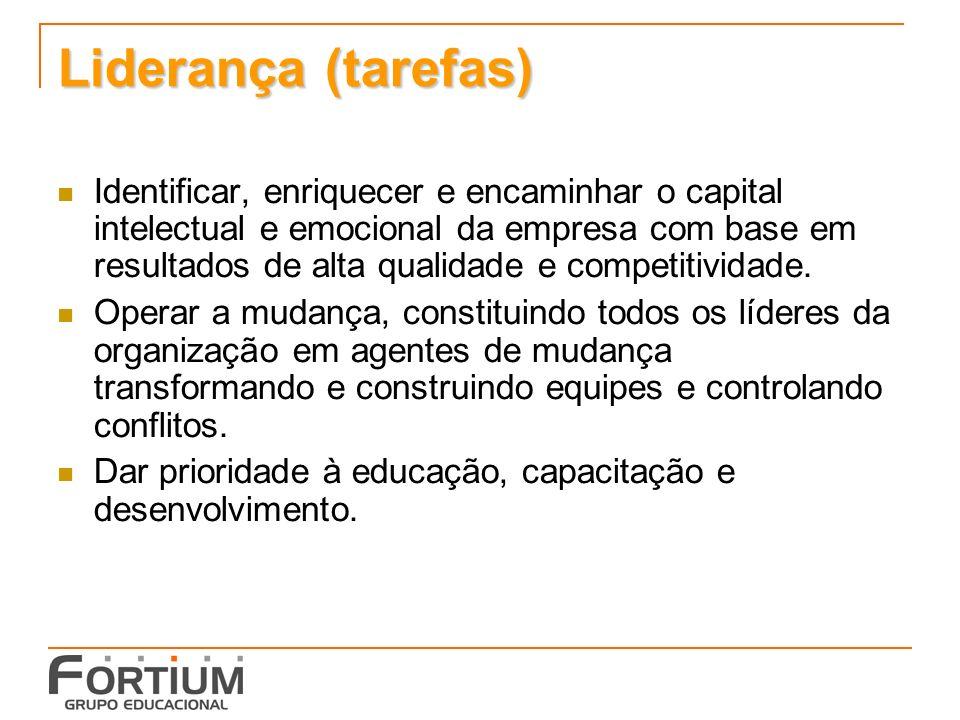 Liderança (tarefas) Identificar, enriquecer e encaminhar o capital intelectual e emocional da empresa com base em resultados de alta qualidade e competitividade.