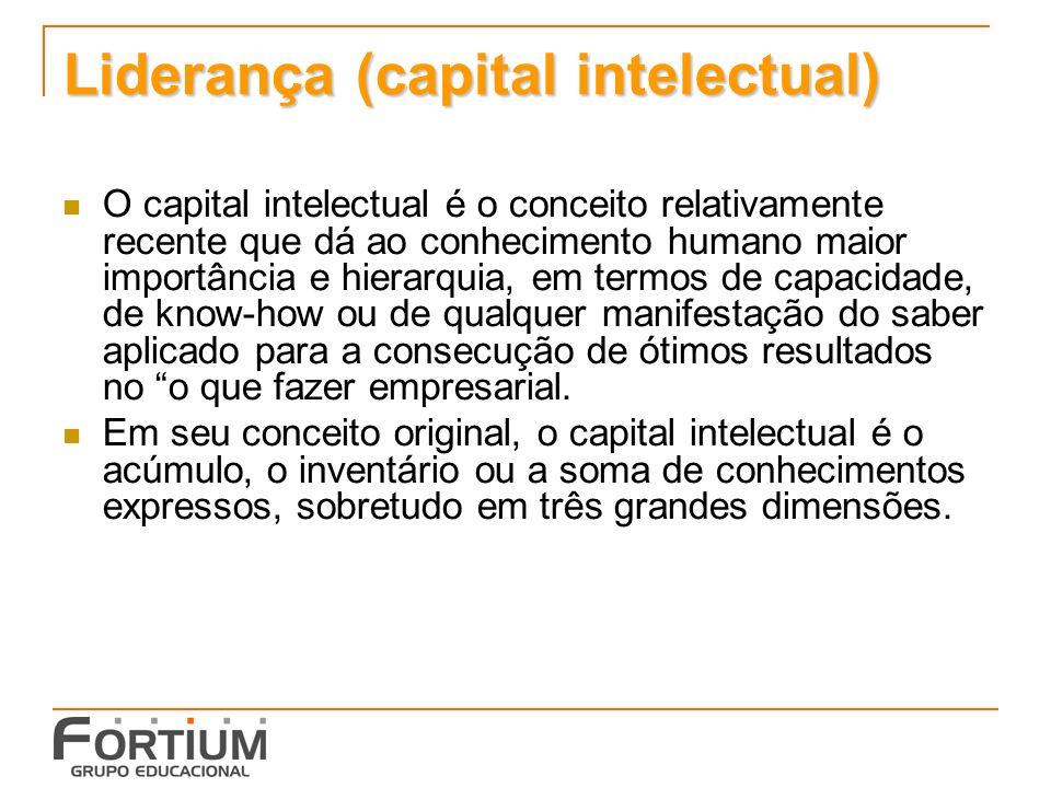 Liderança (capital intelectual) O capital intelectual é o conceito relativamente recente que dá ao conhecimento humano maior importância e hierarquia, em termos de capacidade, de know-how ou de qualquer manifestação do saber aplicado para a consecução de ótimos resultados no o que fazer empresarial.