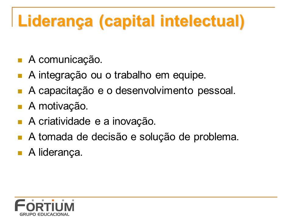 Liderança (capital intelectual) A comunicação.A integração ou o trabalho em equipe.