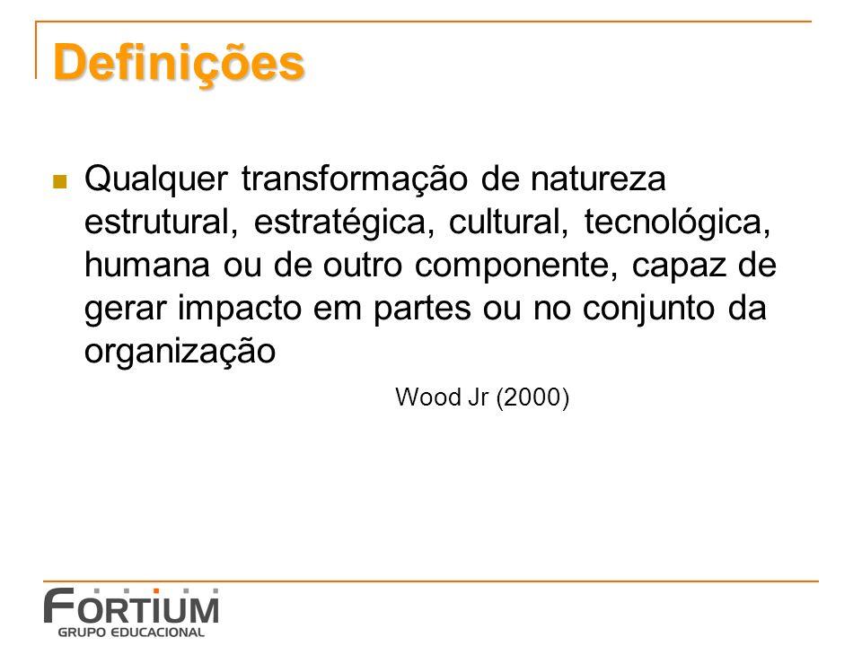 Definições Qualquer transformação de natureza estrutural, estratégica, cultural, tecnológica, humana ou de outro componente, capaz de gerar impacto em partes ou no conjunto da organização Wood Jr (2000)
