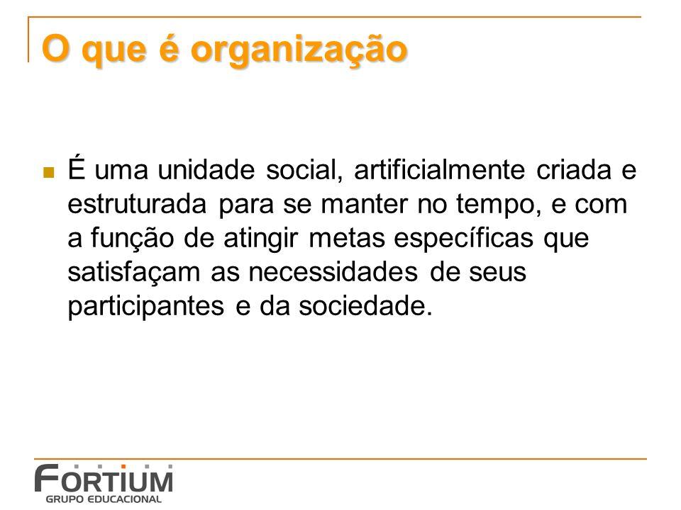 O que é organização É uma unidade social, artificialmente criada e estruturada para se manter no tempo, e com a função de atingir metas específicas que satisfaçam as necessidades de seus participantes e da sociedade.
