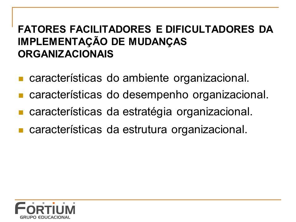 FATORES FACILITADORES E DIFICULTADORES DA IMPLEMENTAÇÃO DE MUDANÇAS ORGANIZACIONAIS características do ambiente organizacional.