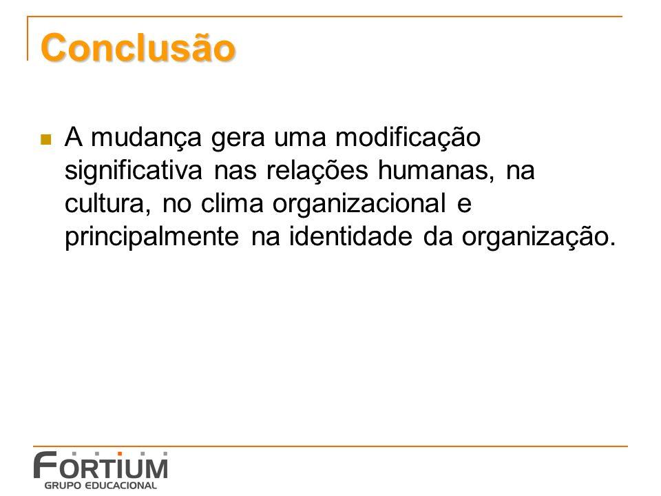 Conclusão A mudança gera uma modificação significativa nas relações humanas, na cultura, no clima organizacional e principalmente na identidade da organização.