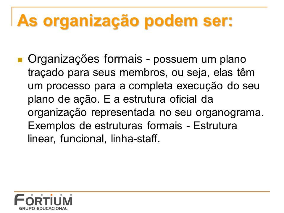 As organização podem ser: Organizações formais - possuem um plano traçado para seus membros, ou seja, elas têm um processo para a completa execução do seu plano de ação.