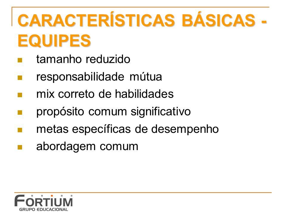 CARACTERÍSTICAS BÁSICAS - EQUIPES tamanho reduzido responsabilidade mútua mix correto de habilidades propósito comum significativo metas específicas de desempenho abordagem comum