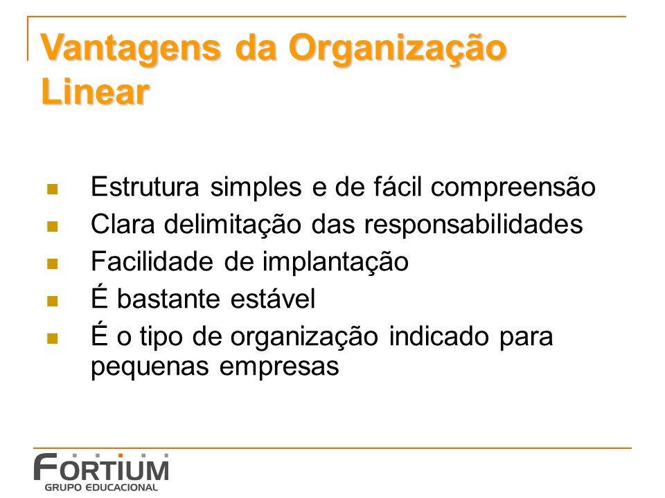 Vantagens da Organização Linear Estrutura simples e de fácil compreensão Clara delimitação das responsabilidades Facilidade de implantação É bastante estável É o tipo de organização indicado para pequenas empresas