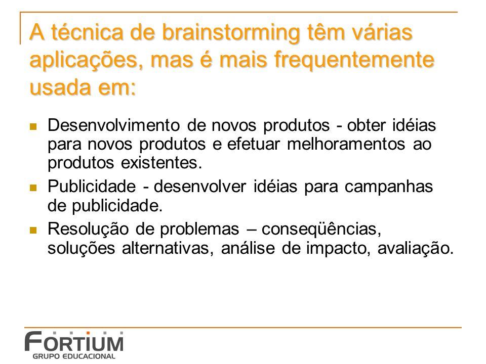 A técnica de brainstorming têm várias aplicações, mas é mais frequentemente usada em: Desenvolvimento de novos produtos - obter idéias para novos produtos e efetuar melhoramentos ao produtos existentes.