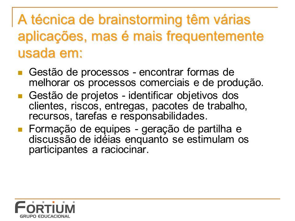 A técnica de brainstorming têm várias aplicações, mas é mais frequentemente usada em: Gestão de processos - encontrar formas de melhorar os processos comerciais e de produção.