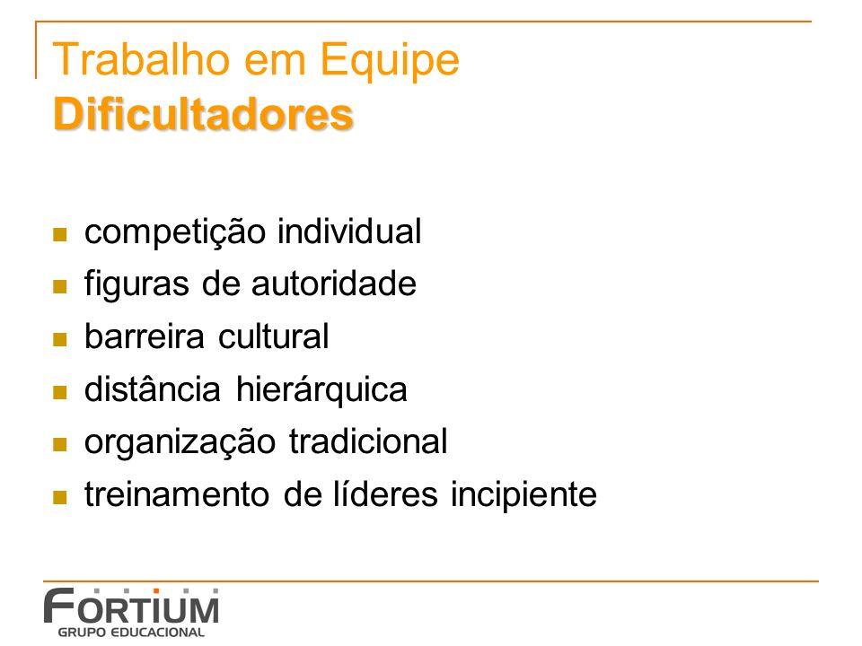 Dificultadores Trabalho em Equipe Dificultadores competição individual figuras de autoridade barreira cultural distância hierárquica organização tradicional treinamento de líderes incipiente