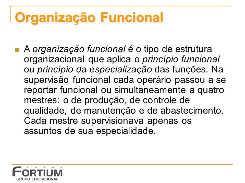 Organização Funcional A organização funcional é o tipo de estrutura organizacional que aplica o princípio funcional ou princípio da especialização das funções.