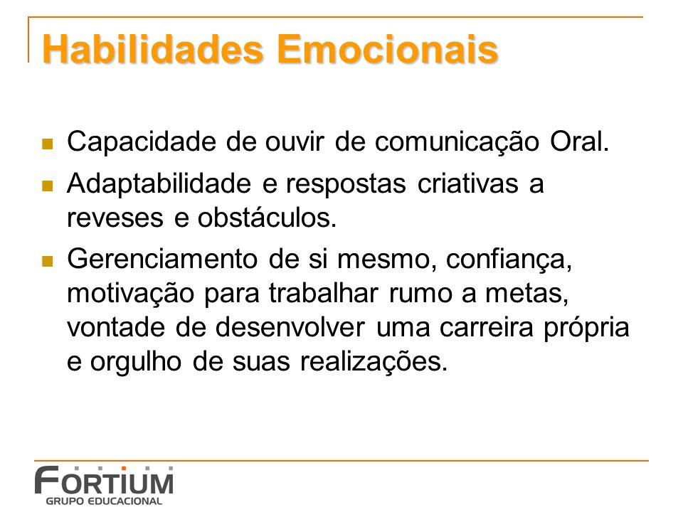 Habilidades Emocionais Capacidade de ouvir de comunicação Oral.
