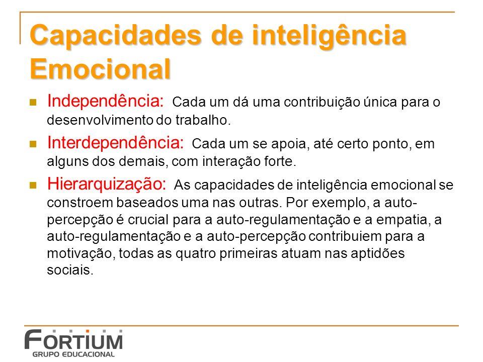 Capacidades de inteligência Emocional Independência: Cada um dá uma contribuição única para o desenvolvimento do trabalho.