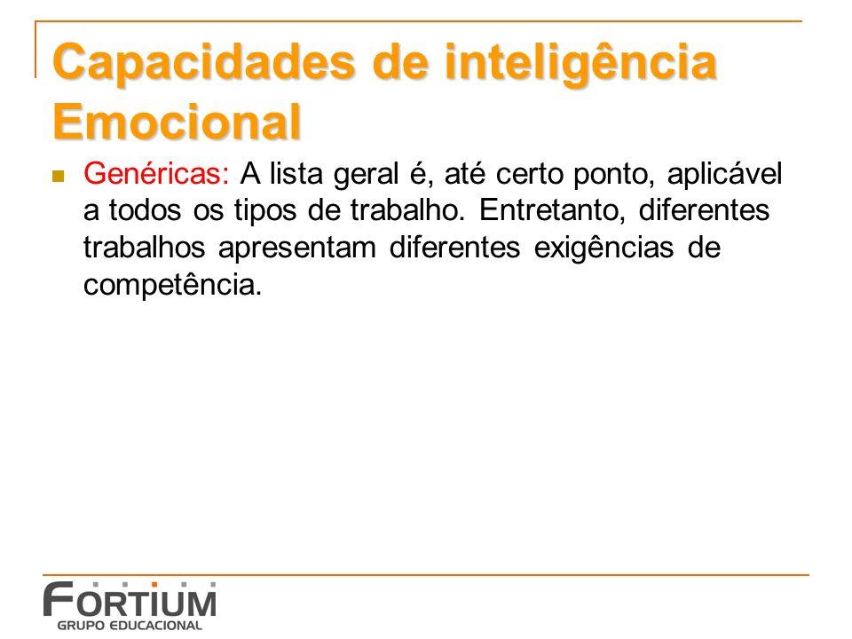 Capacidades de inteligência Emocional Genéricas: A lista geral é, até certo ponto, aplicável a todos os tipos de trabalho.