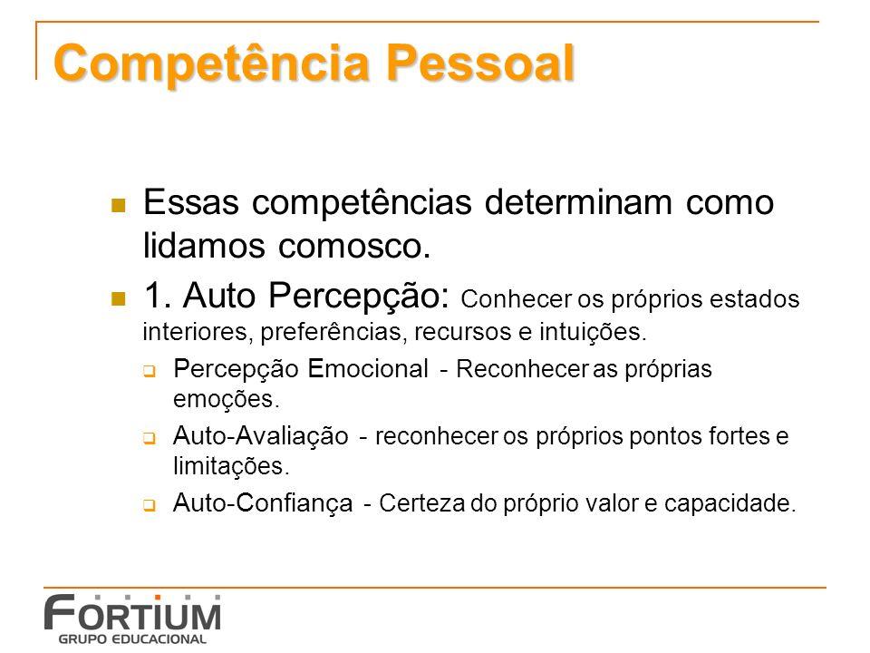 Competência Pessoal Essas competências determinam como lidamos comosco.