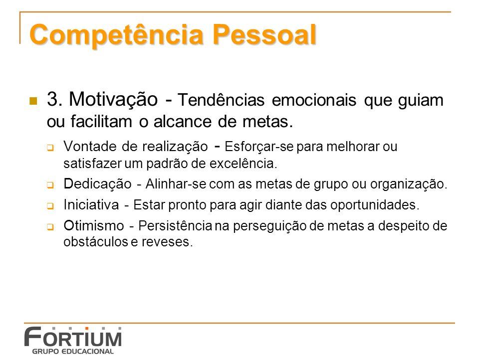 Competência Pessoal 3.Motivação - Tendências emocionais que guiam ou facilitam o alcance de metas.