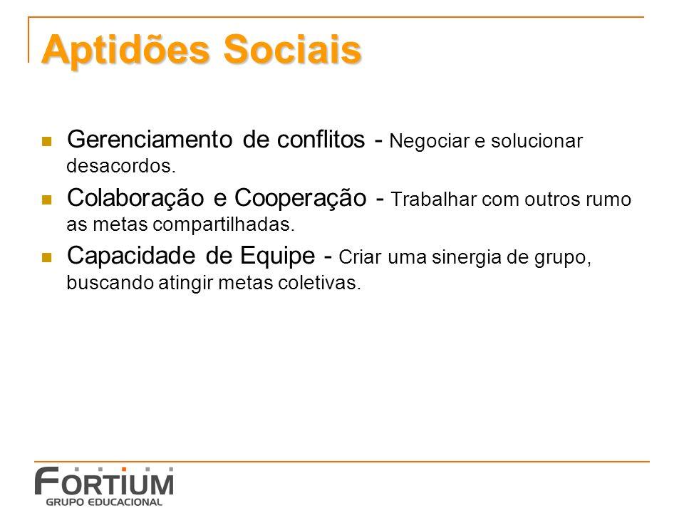 Aptidões Sociais Gerenciamento de conflitos - Negociar e solucionar desacordos.
