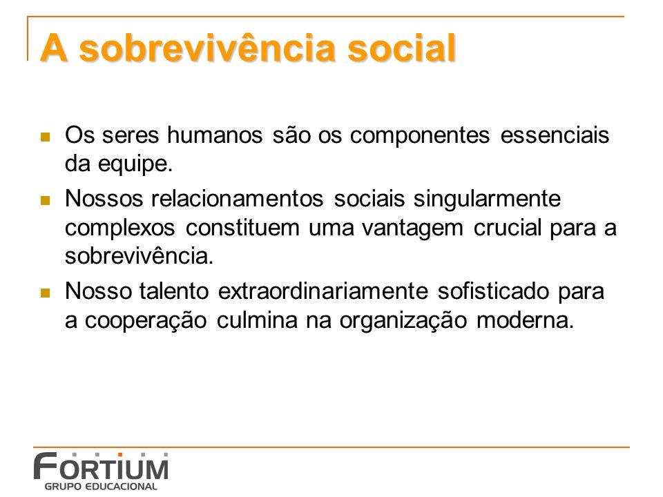 A sobrevivência social Os seres humanos são os componentes essenciais da equipe.